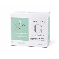 GERMINAL ACCION PROFUNDA TRATAMIENTO ANTIAGING PIELES MIXTAS Y GRASAS 30 AMPOLLAS X 1,5 ML